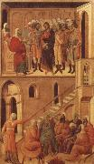 Duccio di Buoninsegna Peter-s First Denial of Christ Before the High Priest Annas oil painting