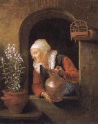 Gerard Dou Old woman at her window,Watering flower oil painting