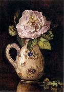 Hirst, Claude Raguet White Rose in a Glazed Ceramic Pitcher with Floral Design oil painting reproduction