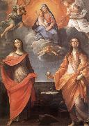 Annibale Carracci The Virgin appears before San Lucas and Holy Catalina oil painting