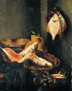 BEYEREN, Abraham van Still-Life with Fish in Basket oil painting