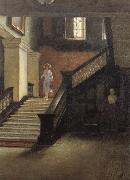 Bernard Hall Staircase to Public Library oil painting