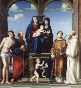 Francesco Francia The Virgin and Child and Saint Anne Enthroned with Saints Sebstian,Paul,John,Lawrence and Benedict oil painting