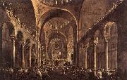 GUARDI, Francesco Doge Alvise IV Mocenigo Appears to the People in St Mark's Basilica in 1763 oil painting