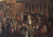 Gabriel Bella A Troupe of Actors on the piazzetta oil painting