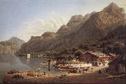 Gabriel Lory fils Vue of Fluhlen, in Suisse oil painting