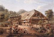 Gabriel Lory fils House of peasants in the vicinity of Bern oil painting reproduction