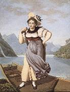 Gabriel Lory fils Elisabeth Grossmann,La Beautiful Bateliere of Brienz oil painting