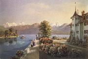 Gabriel Lory fils View of the old lock Schadau in Thun oil painting
