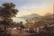 Gabriel Lory fils Seen City of Neuchatel oil painting