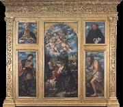 Girolamo Romanino Polyptych of the Nativity,with Saints Alexander,Jerome,Gaudioso and Filippo Benizzi oil painting