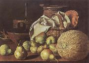 Melendez, Luis Eugenio Still-Life with Melon and Pears oil painting