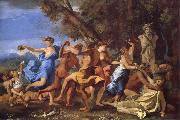 Nicolas Poussin A Bacchanalian Revel Befroe a Term of Pan oil painting reproduction