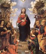 Piero di Cosimo The Immaculada Concepcion and six holy Century XVI I oil painting