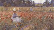 Robert William Vonnoh In Flanders Field Where Soldiers Sleep and Poppies Grow oil painting
