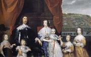 Cornelius Johnson Arthur,1st Baron Capel and his family oil painting