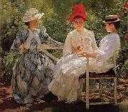 Edmund Charles Tarbell In a Garden oil painting
