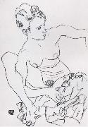 Egon Schiele Seated Female nude with drapery oil painting reproduction