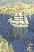 Joseph E.Southall The White Barque at Fowey oil painting