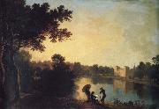 Richard  Wilson View from the South-east with the house and bridge beyond the lake and basin oil painting reproduction