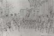 William Waud Sherman Reviewing His Army on Bay Street,Savannah,January oil painting