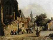 unknow artist European city landscape, street landsacpe, construction, frontstore, building and architecture. 085 oil painting reproduction
