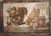 unknow artist Kristallschussel with fruits Wandschmuch out of the villa di Boscoreale oil painting reproduction