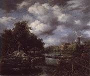 Jacob van Ruisdael Landscape with a windmill  near town Moat oil painting reproduction