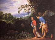 Adam Elsheimer Tobias and arkeangeln Rafael atervander with the fish oil painting