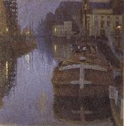 Albert Baertsoen Ghent,Evening oil painting