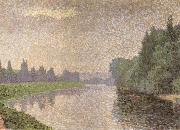 Albert Dubois-Pillet The Marne at Dawn oil painting