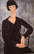 Amedeo Modigliani Seated woman in blue dress oil painting reproduction