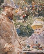 Berthe Morisot Detail of Manet and his daughter oil painting reproduction