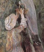 Berthe Morisot Detail of peach trees oil painting reproduction
