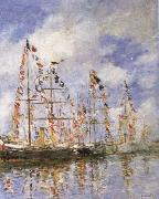 Eugene Boudin Sailing Ships at Deauville oil painting