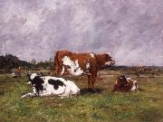 Eugene Boudin Cows in a Pasture oil painting