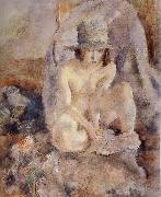 Jules Pascin Nude female wearing green hat oil painting