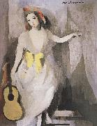 Marie Laurencin Takeing the guitar-s girl oil painting
