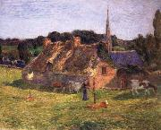 Paul Gauguin The Field of Lolichon and the Church of Pont-Aven oil painting reproduction