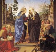 Piero di Cosimo Virgin Marie besokelse with St. Nicholas and St. Antonius oil painting