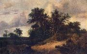 RUISDAEL, Jacob Isaackszon van Landscape with a House in the Grove about 1646 oil painting reproduction
