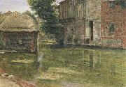 Albert Goodwin,RWS Old Mill,Near Winchester (mk46) oil painting