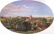 Anthony Frederick Augustus Sandys A Panoramic View of Hunworth (mk46) oil painting