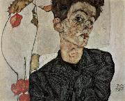 Egon Schiele Self-Portrait with Chinese Lantern Fruit oil painting reproduction