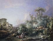 Francois Boucher Landscape with a Young Fisherman oil painting reproduction