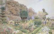 George Samuel Elgood,RI Roses and Pinks,Levens Hall,Westmorland (mk46) oil painting