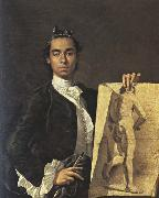 Luis Melendez Self-Portrait with a Drawing of a Male Nude oil painting