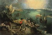 BRUEGEL, Pieter the Elder landscape with the fall of lcarus oil painting reproduction