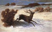 Gustave Courbet The deer running in the snow oil painting reproduction