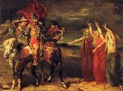 Theodore Chasseriau Macbeth and Banquo meeting the witches on the heath. oil painting reproduction